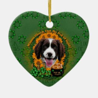St Patricks - Pot of Gold -Springer Spaniel Baxter Christmas Ornaments