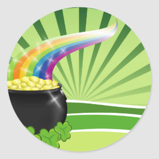 St.Patrick's Pot of Gold Round Sticker