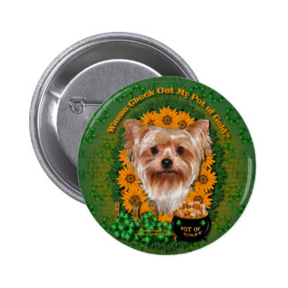 St Patricks - Pot of Gold - Yorkshire Terrier 6 Cm Round Badge