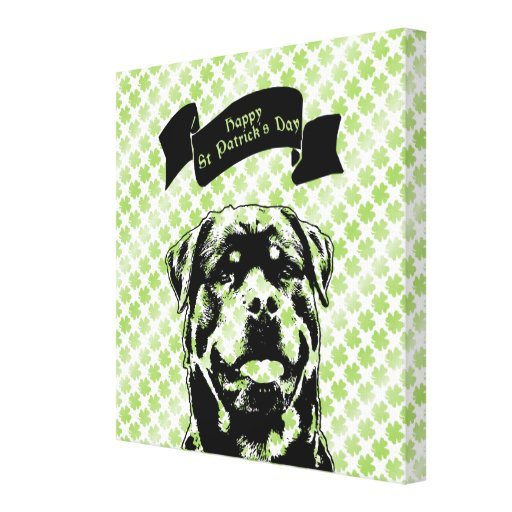 St Patricks - Rottweiler Silhouette Stretched Canvas Prints