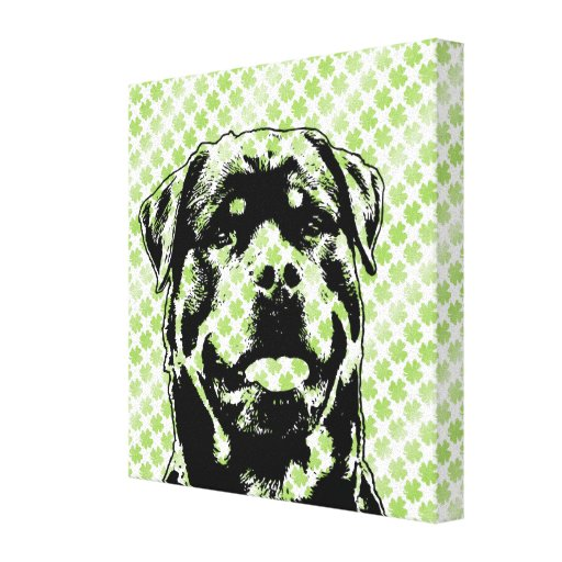 St Patricks - Rottweiler Silhouette Canvas Prints