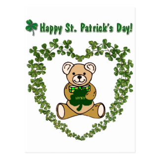 St. Patrick's Teddy Bear in Clover Heart Postcard