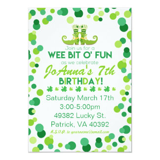 St. Patrick's Themed Birthday Party Invitations