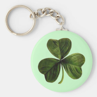 St. Patrick's Three Leaf Clover Basic Round Button Key Ring