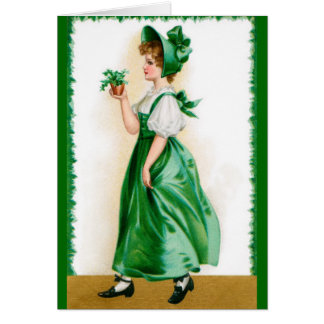 St. Patricks Vintage greeting card - Sweet girl