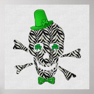 St. Patrick's Zebra Skull Posters