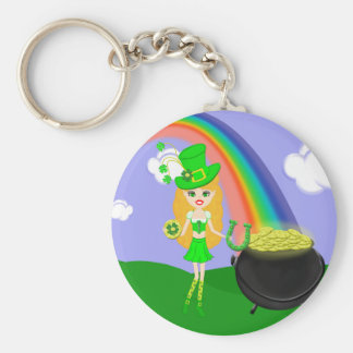 St Pat's Day Blonde Girl Leprechaun with Rainbow Basic Round Button Key Ring