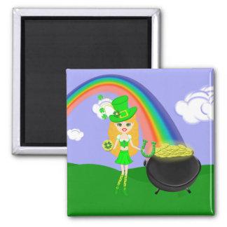 St Pat's Day Blonde Girl Leprechaun with Rainbow Fridge Magnet