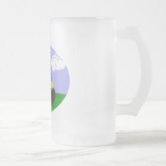 St Pat's Day Brunette Girl Leprechaun with Rainbow Frosted Glass Mug