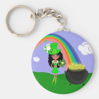 St Pat's Day Brunette Girl Leprechaun with Rainbow Keychains