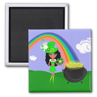St Pat's Day Brunette Girl Leprechaun with Rainbow Magnets