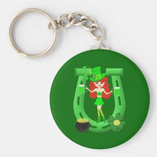 St Pat's Day Redhead Girl Leprechaun Key Chain