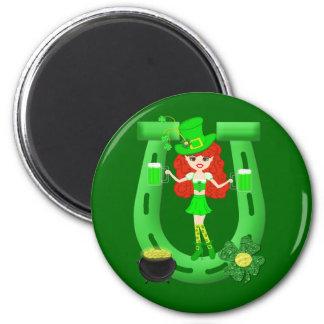 St Pat's Day Redhead Girl Leprechaun Magnet