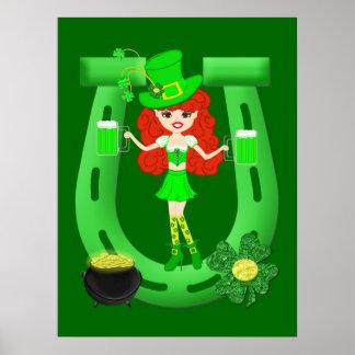St Pat's Day Redhead Girl Leprechaun Poster