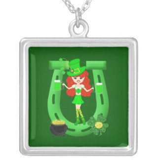 St Pat's Day Redhead Girl Leprechaun Square Pendant Necklace