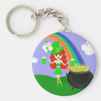 St Pat's Day Redhead Girl Leprechaun with Rainbow Keychains
