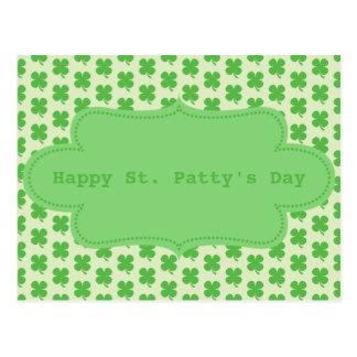 St. Patty Shamrock Pattern Postcard
