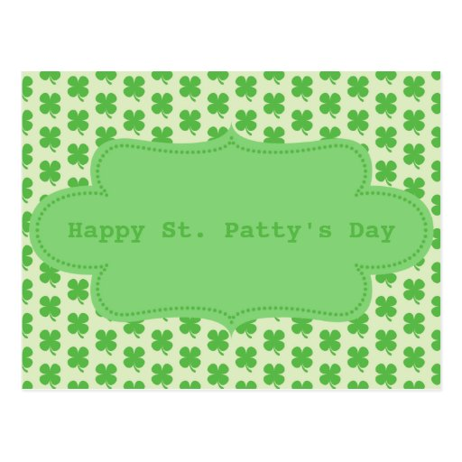 St. Patty Shamrock Pattern Postcards