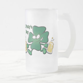 St. Patty's Day Frosted Glass Beer Mug