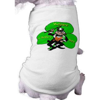 St Patty's Day Leprechaun Shamrock Sleeveless Dog Shirt