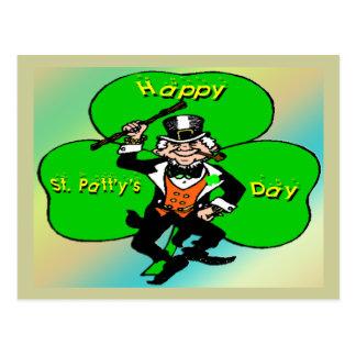 St Patty's Day Leprechaun Shamrock Postcard