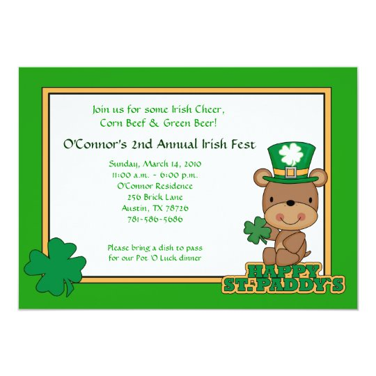 St. Patty's Day Party Saint Patrick's Day 5x7 Bear Card