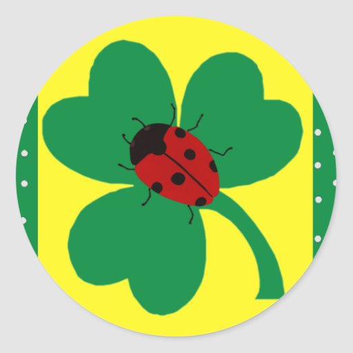 St. Patty's Ladybugs Round Stickers