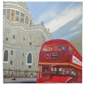 St.Paul Cathedral and London Bus Napkin