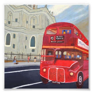 St.Paul Cathedral and London Bus Photo Enlargement
