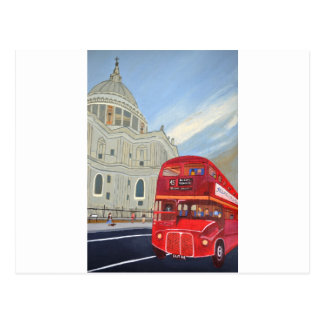 St.Paul Cathedral and London Bus Postcard