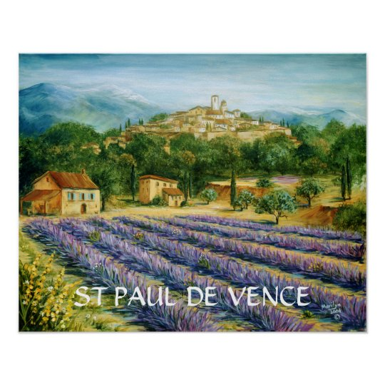 St Paul De Vence And Lavender Poster