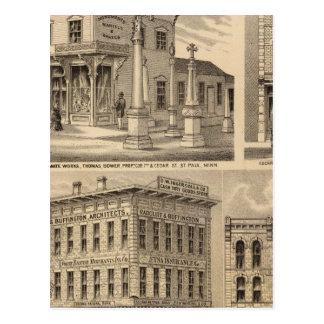 St. Paul, Minneapolis, Minnesota Lithograph Map Postcard