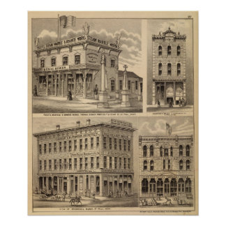 St. Paul, Minneapolis, Minnesota Lithograph Map Poster