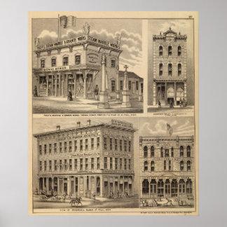St. Paul, Minneapolis, Minnesota Lithograph Map Poster
