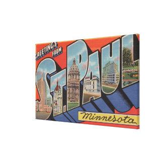 St. Paul, Minnesota - Large Letter Scenes Canvas Print