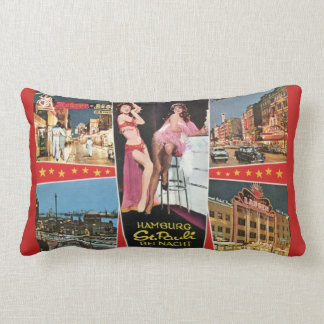St. Pauli by Night, Hamburg, Germany Vintage Lumbar Cushion