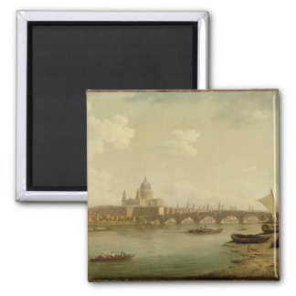 St. Paul's and Blackfriars Bridge, London, c.1770- Square Magnet