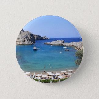 St.Paul's Bay, Lindos 6 Cm Round Badge