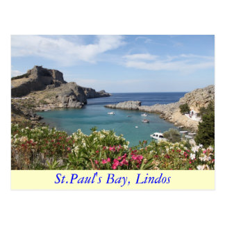 St.Paul's Bay, Lindos Postcard