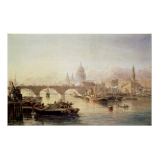 St. Paul's Cathedral and London Bridge Poster