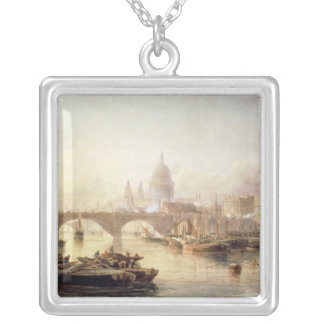 St. Paul's Cathedral and London Bridge Silver Plated Necklace