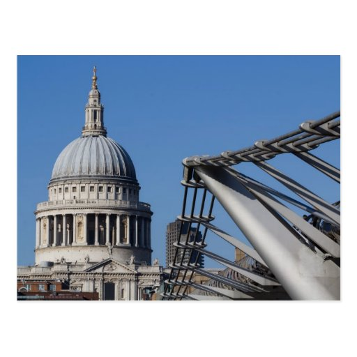 St Pauls Cathedral And The Millenium Bridge Post Cards