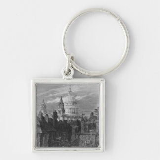 St. Paul's Cathedral and the slums Silver-Colored Square Key Ring