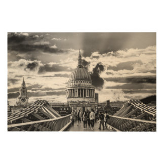 St Paul's Cathedral Black and White Photograph Wood Prints