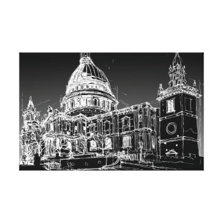 St. Pauls Cathedral, London. Night Sky Canvas Print