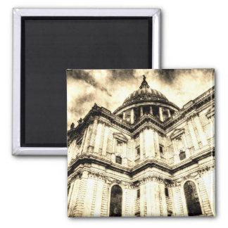 St Paul's Cathedral London Vintage Square Magnet