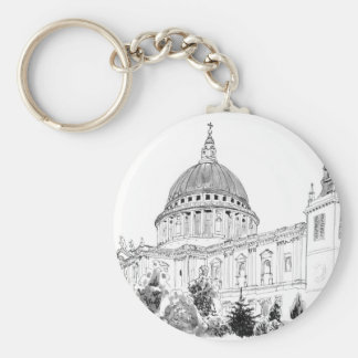 St Paul's Cathedral pen and ink drawing Key Ring