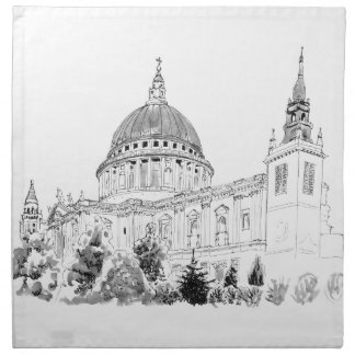 St Paul's Cathedral pen and ink drawing Napkin
