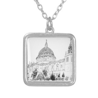 St Paul's Cathedral pen and ink drawing Necklace