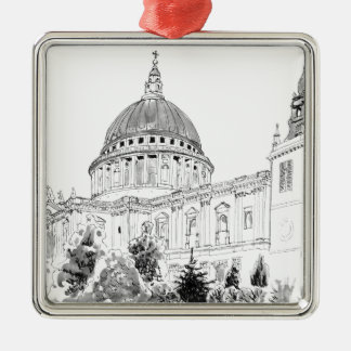 St Paul's Cathedral pen and ink drawing Silver-Colored Square Decoration